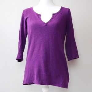 Hi Line Madewell Purple Waffle Knit 3/4 Sleeve Top